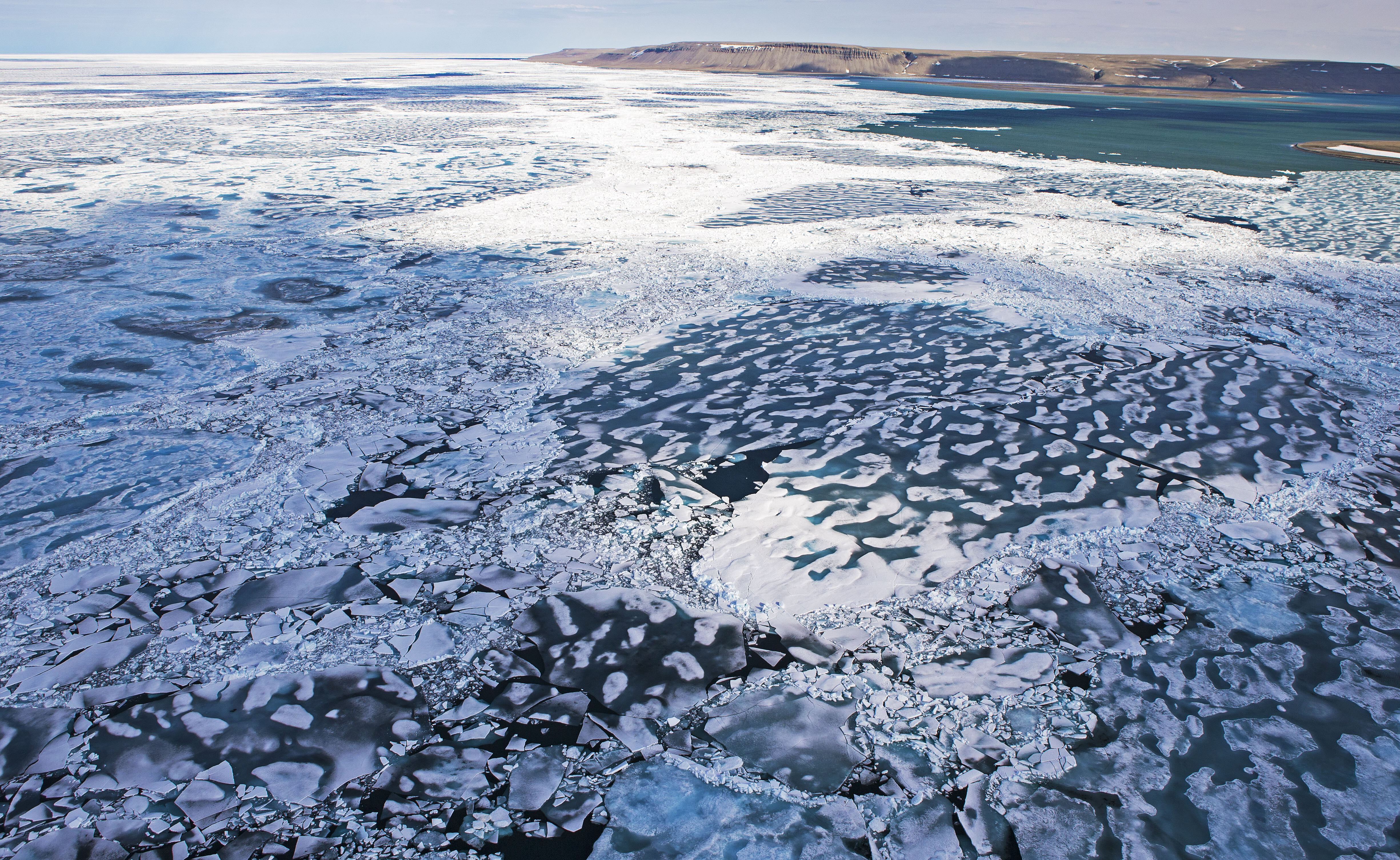 Drone aerial image of the Northwest passage in early July