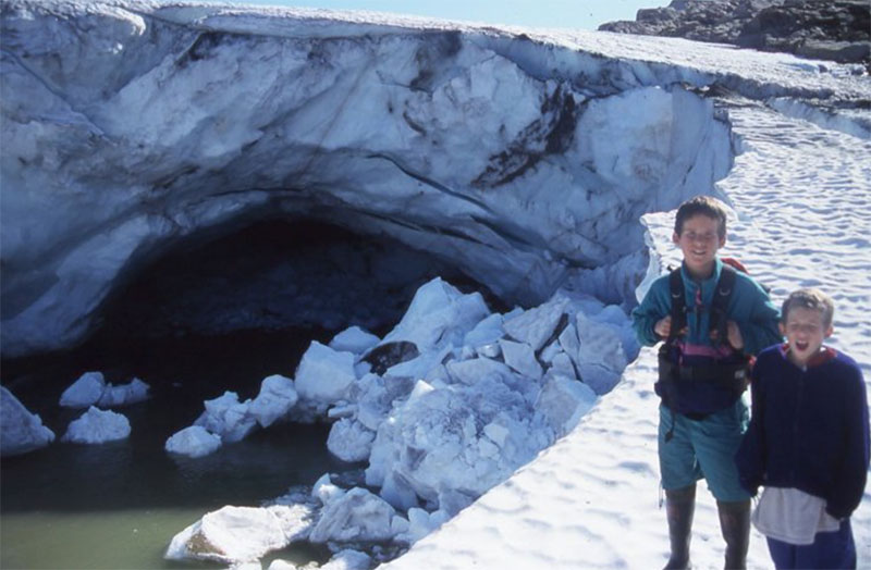 Young explorers: Tessum and Nansen hiking a glacier on Baffin Island